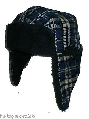 Baby trapper hat TODDLER WINTER HAT BLUE & WHITE FAUX FUR 1/2 YEARS OR 2/4 YRS