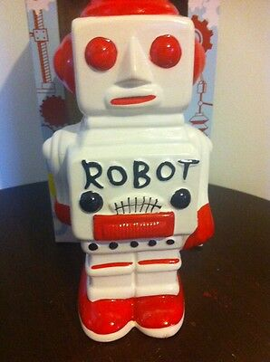 Rocket USA Retro Robot Red Piggy Bank Space Age 1950's Repro, Ceramic