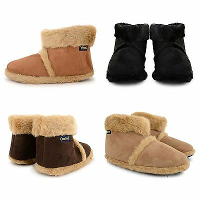 NEW MENS COOLERS FLAT MICROSUEDE FURRY SNUGG SLIPPER ANKLE BOOTS ADULT SIZES