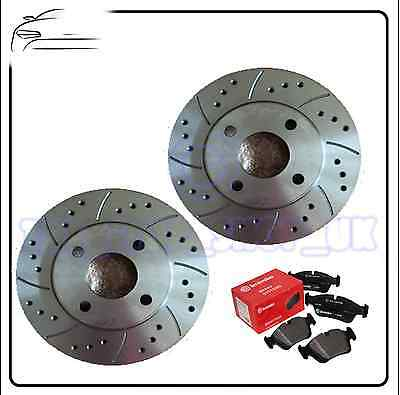 Ford Fiesta Focus Performance Drilled & Grooved Rear Brake Discs & Brembo Pads