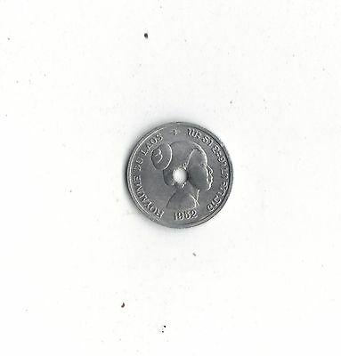 World Foreign Coins* KINGDOM of LAOS * 10 cents 1952 * HOLED *LOT D5 *