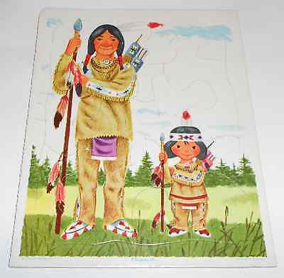 Vintage Playskool Golden Little Indian Tray Jigsaw Puzzle Scarry 80-6A 12 Pieces