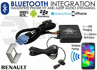 Renault Bluetooth streaming handsfree calls CTARNBT003 AUX USB MP3 iPhone Sony
