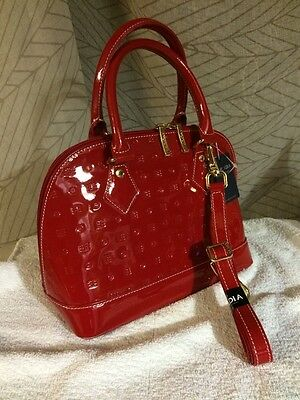NWT  Arcadia Vernis Patent Red Natural Leather Dome Handbag Satchel
