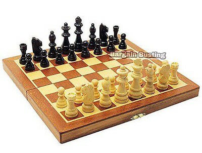 Quality 3 in 1 Folding Wooden Chess Backgammon Draughts Checkers Set 34cm X 34cm