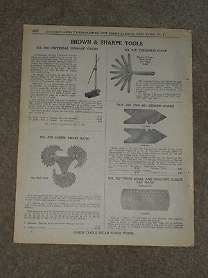 1940 Brown & Sharpe Tools Screw Pitch Center Gage Price List AD Catalog Page