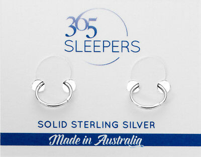 365 Sleepers Solid Sterling Silver Hinged Hoop Earrings Nickel Free