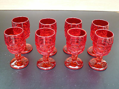 8 wine or cordial glasses, Red / Carmen by Cambridge 1931 - 1950's