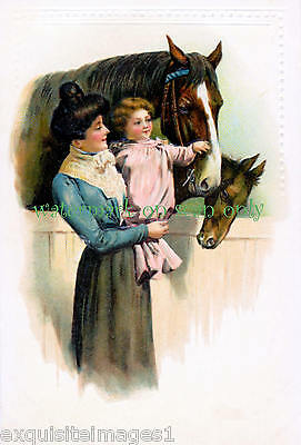 Victorian Lady w Baby Girl Petting Horse & Foal~ NEW Large Note Cards