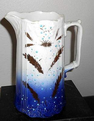 Antique 1890-1920 Flow Blue Pitcher w/ Gold Gilding 8""