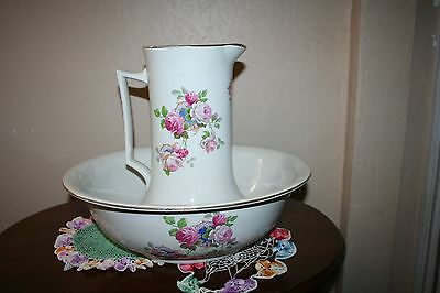 Antique Large Floral Pottery English Pitcher and Bowl Stamped Made in England