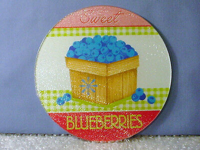 NEW! BASKET OF SWEET BLUEBERRIES GLASS TRIVET HOT PAD SURFACE PROTECTOR