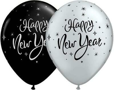 """Happy New Year Sparkle Black & Silver 11"""" Qualatex Balloons x 5"""