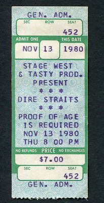 Dire Straits 1980 On Location Tour Concert Ticket Hartford CT Making Movies