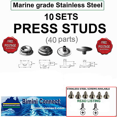 10 sets - 40 Parts - Press studs - 316 Marine grade stainless steel -  FREE POST