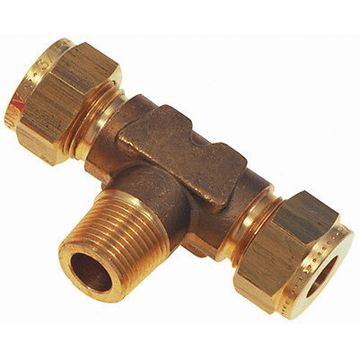 """Wade Brass Compression Fittings - 3/8"""" Od X 3/8"""" Bspt Tee Male Stud Branch 9-006"""