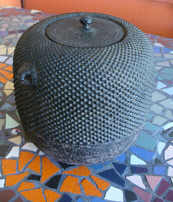 "8"" Antique Cast Iron Japanese Tetsubin Pot & Lid"