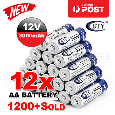 12x AA battery batteries Bulk Nickel Hydride Rechargeable NI-MH 3000mAh 1.2V