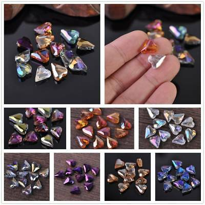 10pcs 12mm Heart Faceted Crystal Glass Spacer Loose Beads Charm Crafts Findings