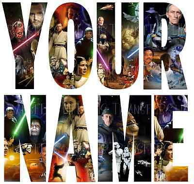 STARWARS NAME LETTER STICKERS WALL DECO DECAL 3 SIZES PERSONALISED lot SW