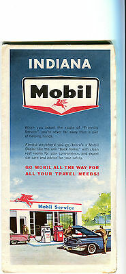 1966 Mobil Indiana Vintage Road Map
