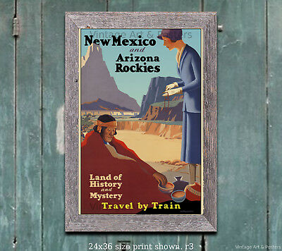 New Mexico & Arizona Travel by Train Poster [6 sizes, matte+glossy avail]