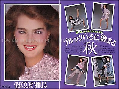"""BROOKE SHIELDS sexy 1982 JPN PINUP PICTURE CLIPPINGS 8x11.5"""" 2-Sheets #UC/Q"""