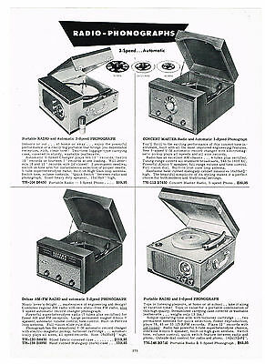 1954  Ad Phonographs-Radios 3-Speed Automatic Am-Fm Portable Electric