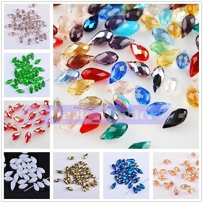 20pcs 6mm Teardrop Faceted Crystal Glass Charm Spacer Loose Beads Free Ship