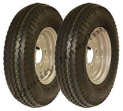 2 - 4.80/4.00 - 8 road legal high speed trailer wheels tyre & rim 265kgs 400 8