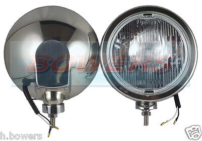 "Pair Of Maxtel 12V/24V 8 1/4"" Stainless Steel Round Spotlights Spotlamps Truck"