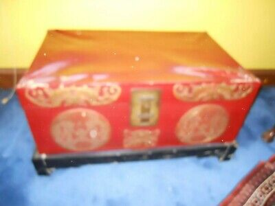 19th century Chinese painted red lacquer  leather trunk