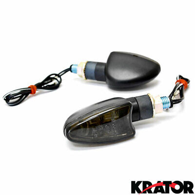 2 New Motorcycle Replacement Turn Signals Blinkers Amber Indicators Smoke Lens