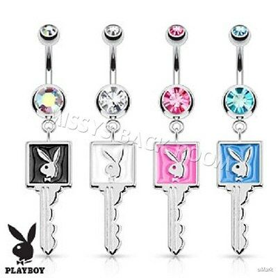 Playboy Bunny Enamel Key Navel Ring 316L Surgical Steel 4 Colors FREE SHIP