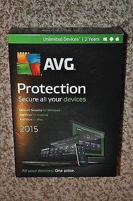 2015 AVG Protection Internet Security Unlimited Devices 2 Yr Windows Android MAC