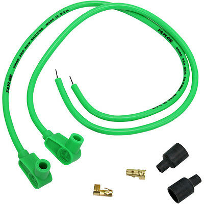 "Sumax Hot Green 8mm Spark Plug Wires 24""L for Harley Universal w/ 90° Boot"