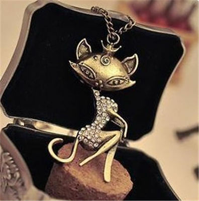 Fashion Cute Cat Girl Crystal Cross Necklace Retro Sweaters Long Chain Pendant