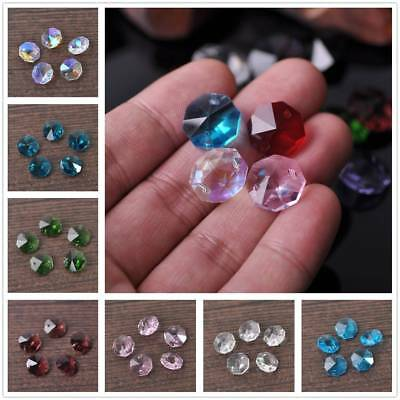 10pcs 14mm Octagon Double Hole Pendant Charms Faceted Crystal Glass Loose Bead