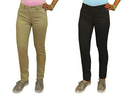 Girls Khaki and Black Cotton Super Soft School Uniform Skinny Pants Size 4-14