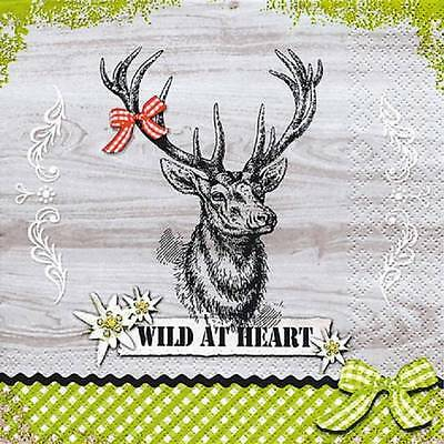 4 x Paper Napkins- Wild at Heart Stag -Ideal for Decoupage / Decopatch [1661151]