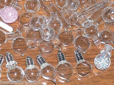 15 Mix Lot Glass bottles Pendant Vial mini small charms fill necklace supplies *