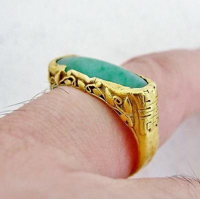 Antique ? Chinese 24K Yellow Gold Ring w/ 20mm Green JADEITE Jade (6.2g, size 8)