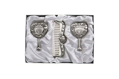 Princess 3 Piece Comb Brush Mirror Set Pewter Baby Gift