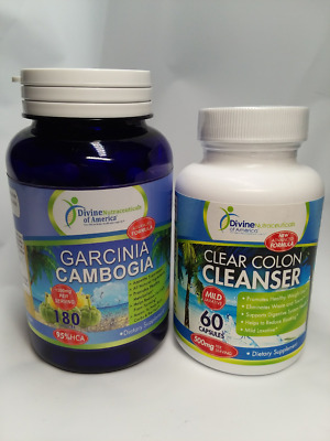 Garcinia Cambogia + Clear Colon Cleanse Herbal Detox FAT Weight Loss Combo Kit 2