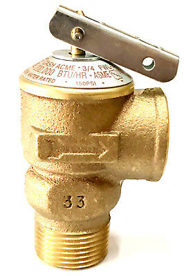 "3/4"" Lead Free Pressure Relief Valve 150 Psi 200,000 Btu, Hot Water VSJ74 Italy"