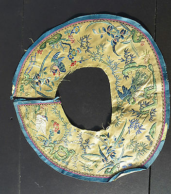 VINTAGE / ANTIQUE EMBROIDERY - CHINESE / JAPANESE THEME - BIRDS - COLLAR SLEEVE?