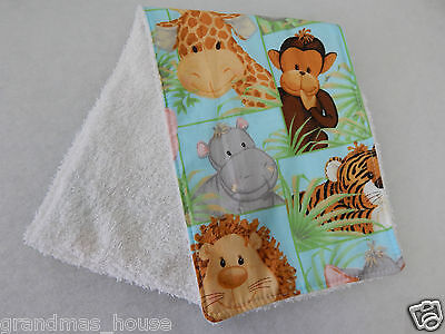 Jungle Babies Burp Cloth Toweling Back GREAT GIFT IDEA!!