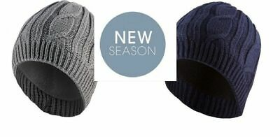 SealSkinz Waterproof Breathable Cable Knit Sailor Beanie Hat Blue or Grey