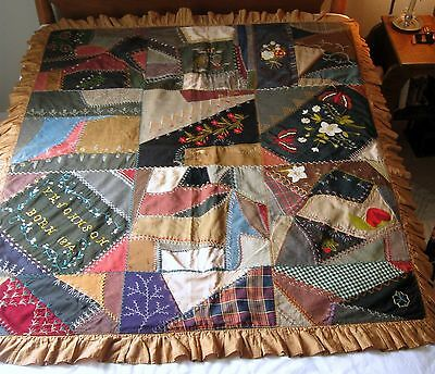 Antique Childs VICTORIAN CRAZY QUILT - LAVISH EMBROIDERY - SIGNED & DATED 1874