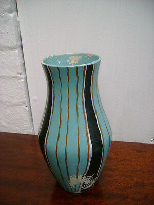 RETRO BRENTLEIGH SANDOWN VASE  WITH BLACK, WHITE  AND GOLD COLOURED STRIPES